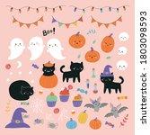 halloween clipart set with... | Shutterstock .eps vector #1803098593