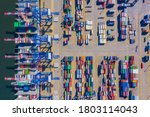 container ship from sea port... | Shutterstock . vector #1803114043