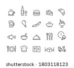 restaurant line icon set with... | Shutterstock .eps vector #1803118123