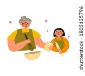 grandmother and granddaughter... | Shutterstock .eps vector #1803135796