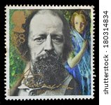 Small photo of GREAT BRITAIN - CIRCA 1992 : postage stamp printed in the Great Britain shows Alfred Lord Tennyson, centenary of death, circa 1992