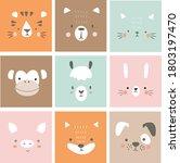 cute simple animal portraits  ... | Shutterstock .eps vector #1803197470