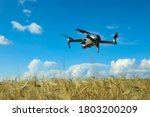 Modern Drone Flying Over Wheat...