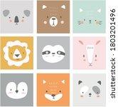 cute simple animal portraits  ... | Shutterstock .eps vector #1803201496