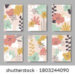 set of six vector cards with...   Shutterstock .eps vector #1803244090