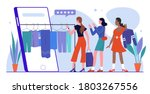 woman shopping online flat... | Shutterstock .eps vector #1803267556