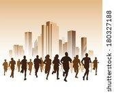 people running on a street.... | Shutterstock .eps vector #180327188