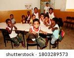 Small photo of nova vicosa, bahia / brazil - december 30, 2009: quilombola children are seen in a rural school classroom in the district of Helvecia, in the municipality of Nova Vicosa.