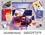 woman sleep on workplace top... | Shutterstock .eps vector #1803297379