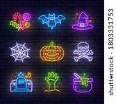Halloween Neon Icons. Happy...