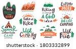 hiking camp lettering phrases....   Shutterstock .eps vector #1803332899