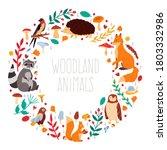 autumn animals wreath. cute... | Shutterstock .eps vector #1803332986