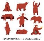 brown grizzly bear. cartoon... | Shutterstock .eps vector #1803333019