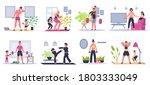 home family fitness. mother ... | Shutterstock .eps vector #1803333049
