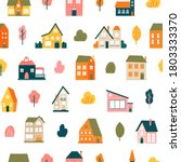 house pattern. cute tiny town...   Shutterstock .eps vector #1803333370