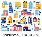 doodle cottages. cute tiny town ...   Shutterstock .eps vector #1803333373