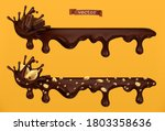 chocolate drips and splash.... | Shutterstock .eps vector #1803358636
