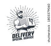 delivery service retro logo.... | Shutterstock .eps vector #1803379060