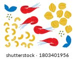lunch menu elements of seafood  ... | Shutterstock .eps vector #1803401956
