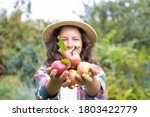 Young Woman Farmer Holding In...