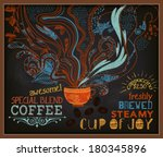 chalkboard poster for coffee... | Shutterstock .eps vector #180345896
