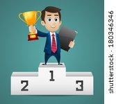businessman stands on pedestal...   Shutterstock .eps vector #180346346