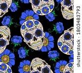 sugar skulls and blue flowers.... | Shutterstock .eps vector #1803483793