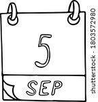 calendar hand drawn in doodle... | Shutterstock .eps vector #1803572980