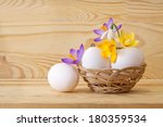beautiful flowers and easter... | Shutterstock . vector #180359534
