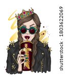 girl wearing a crown  leather... | Shutterstock .eps vector #1803622069