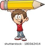 Cartoon Boy Holding A Big...