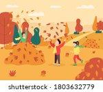 children play in leaves pile... | Shutterstock .eps vector #1803632779