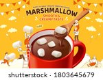 marshmallow hot chocolate ad in ... | Shutterstock .eps vector #1803645679