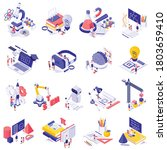 stem education isolated icons... | Shutterstock .eps vector #1803659410