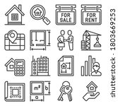 real estate and home rent icons ... | Shutterstock .eps vector #1803669253