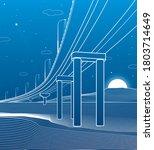 outline road bridge. car...   Shutterstock .eps vector #1803714649