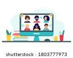 online meeting via group call....   Shutterstock .eps vector #1803777973
