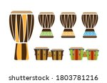 Ethnic drums set. Drums used in Africa, South America, Caribbean, Brazil, Cuba, Jamaica and others. Drums for latin music, reggae, capoeira. Set of flat vector icons suitable for various purposes.