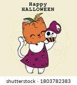 cute doodle happy white cat...   Shutterstock .eps vector #1803782383