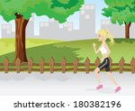 illustration of a girl is... | Shutterstock .eps vector #180382196