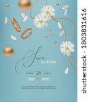 wedding event card. golden...   Shutterstock .eps vector #1803831616