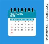 february 2021 calendar.... | Shutterstock .eps vector #1803836659