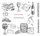 wine set. vector hand drawn... | Shutterstock .eps vector #1803890053