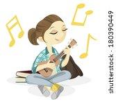 cute ukulele girl   Shutterstock .eps vector #180390449