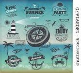 set of vintage summer...   Shutterstock .eps vector #180391670