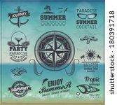 set of vintage summer... | Shutterstock .eps vector #180391718