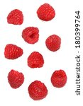 red raspberries  cut out on... | Shutterstock . vector #180399764