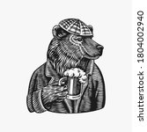 grizzly bear with a beer mug.... | Shutterstock .eps vector #1804002940
