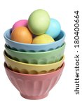 Bowls And Easter Eggs On White