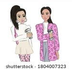 Two Stylish Girls In Bright...